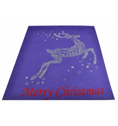 Purple Christmas Reindeer rug 100 x 120 cm. N1