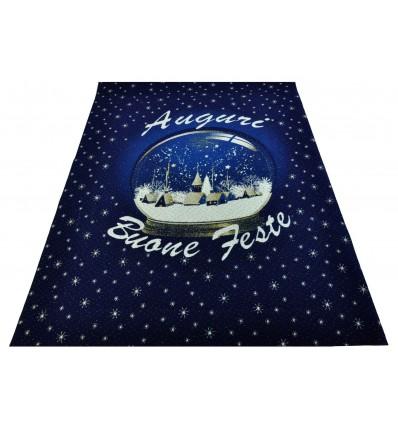 Blue SNOWBALL Christmas rug runner 100x139 cm. B7