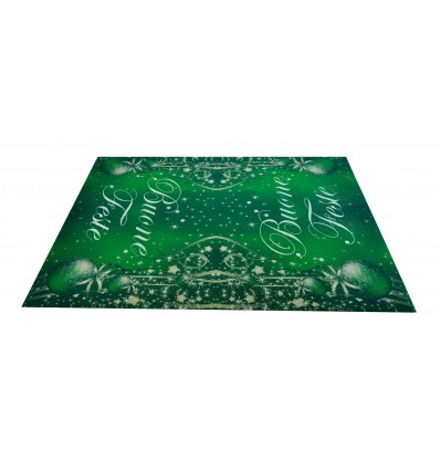 Christmas GREETINGS green carpet runner 100x142 cm. V1