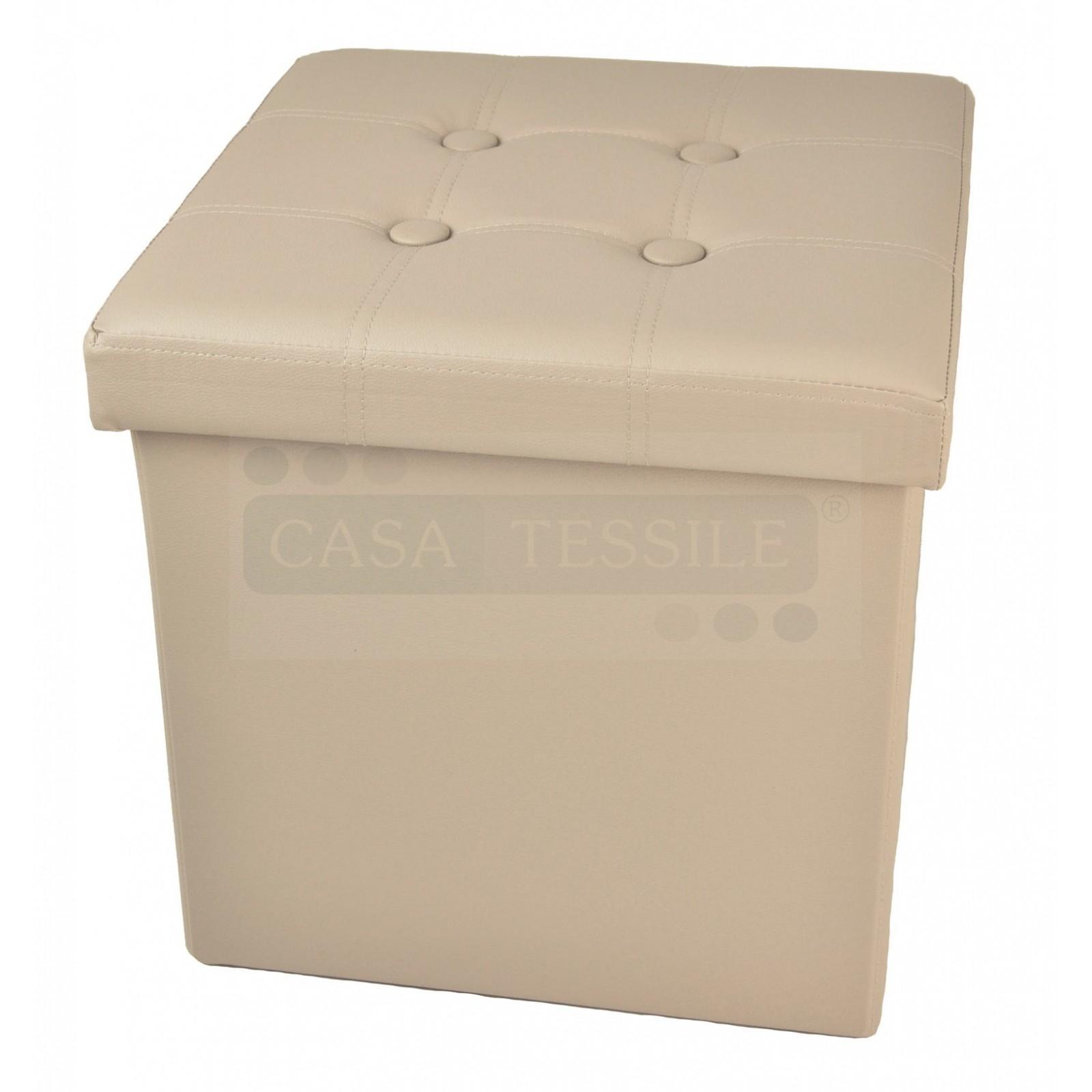 Bianco CASA TESSILE Cuore Ecopelle Pouf Contenitore Tinta Unita