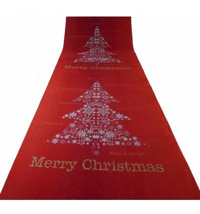 Tappeto rosso Albero di Natale passatoia H.1 mt R8