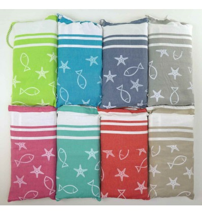 FOUTA Sea Towel for COT 75x195 cm. With Pillow MARINE