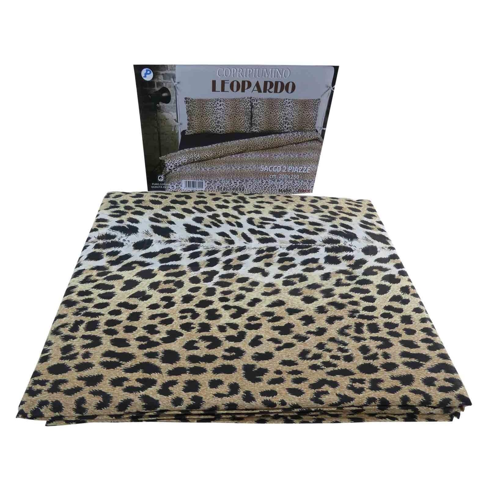 Copripiumino 200 X 250.Cotton Bag Duvet Cover With Pillow Cases Leopardo Casa Tessile