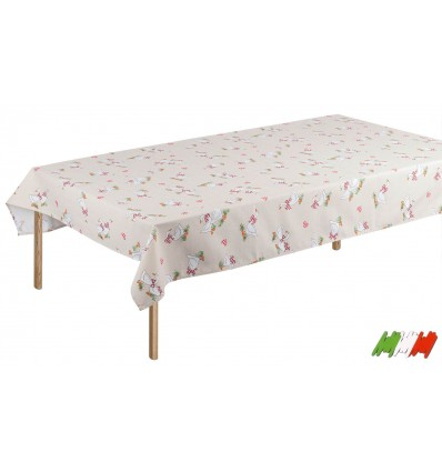Rectangular tablecloth and square printed cotton ANATRA