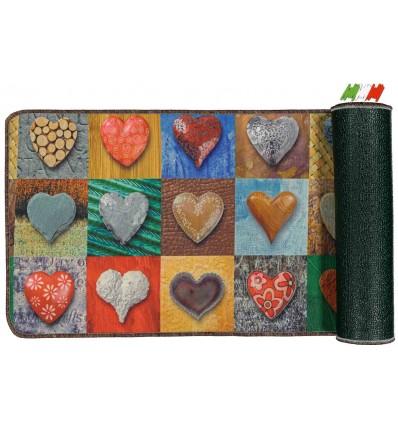 Multipurpose kitchen carpet non-slip 50 cm wide. HEART PATCHWORK