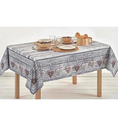 Square cotton tablecloth and rectangular digital print CUORI APPESI