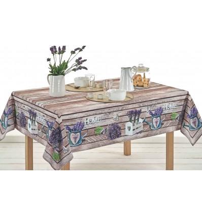 Square cotton tablecloth and rectangular digital print LAVANDA LEGNO