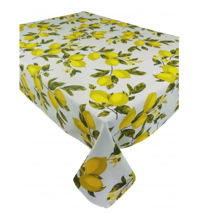 Square and rectangular tablecloth lemon cotton