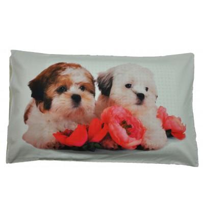 Cani e fiori Bed pillow pillowcase photographic print