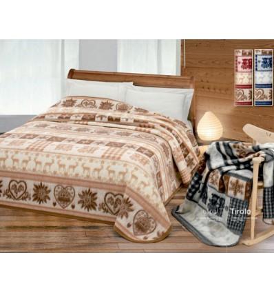Tirolo coperta misto lana 1 piazza e mezza 180x220 cm.