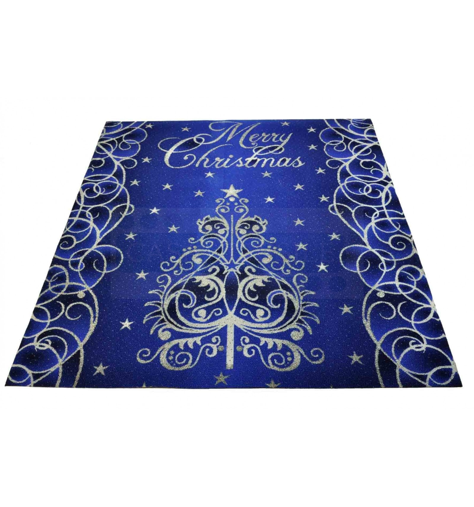 Blue Christmas Tree Rug Runner 100x110 Cm B1 Casa Tessile